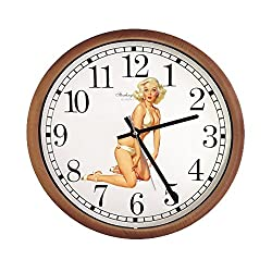 New Espresso/Cappuccino Finish Round Wall Hanging Clock featuring Pin Up Girl Themed Logo