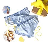 Yellowberry Pom Pom Underwear Bundle - Cutest Ruffle Cotton Bikini - Great for Girls, Tweens and Teens! (LG, Raindrop)
