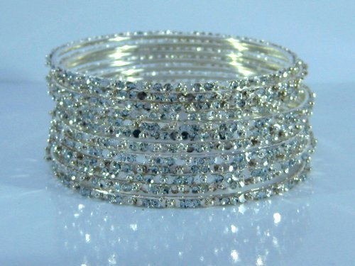 (Bellydance Bangle Bracelets Silver-tone crystal-look Set of 12 Large Size/2.10