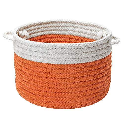 Colonial Mills Dip-Dye Orange Zest Storage Basket w/Handles Large: 20x20x12 made in Rhode Island