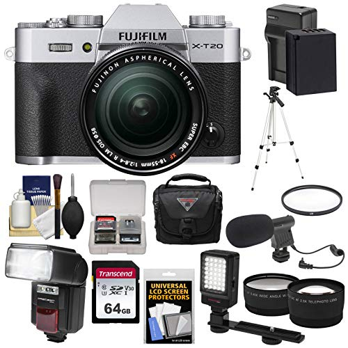 Fujifilm X-T20 Wi-Fi Digital Camera & 18-55mm XF Lens (Silver) with 64GB Card + Battery + Case + Flash + Tripod + LED + Microphone + Tele/Wide Lens Kit