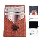 Kalimba 17 Keys Thumb Piano African Instrument Finger Piano Finger Mbira with Tuning Hammer for Kids Adult Beginners