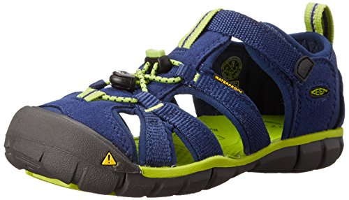 Keen Unisex-Kinder Seacamp II Cnx Geschlossene Sandalen, Blau (Blue Depths/Lime Green), 34 (1 Kinder UK)