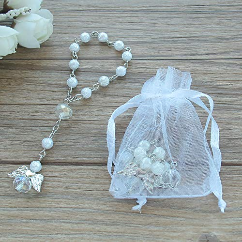Baptism Favor 12PCS Mini Angel Rosaries Christening First Communion Recuerditos Bautizo Gift for Guest with Gift Bags ()