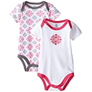 Yoga Sprout Baby-Girls Bodysuits Elephant, Pink Medallion, 0-3 Months (Pack of 2)