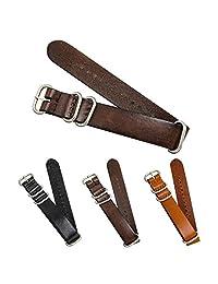 CIVO Genuine Grain Leather NATO Zulu Military Swiss G10 Watch Band Strap 18mm 20mm 22mm Stainless Steel Buckle (Dark Brown, 20mm)