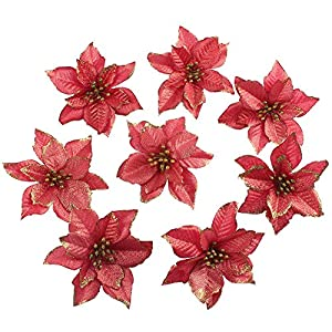 OurWarm 50pcs Glitter Poinsettia Christmas Tree Ornaments Artificial Poinsettia Flowers for Christmas Decorations, Gold 1