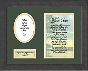 Broken Chain Sympathy Poem Photo Framed with Scripture Gift for Memorial, Encouragement and Comfort in Time of Bereavement