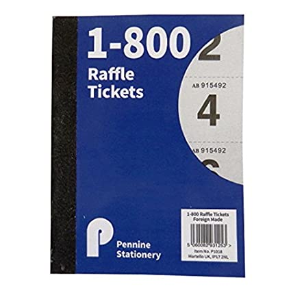 raffle tombola cloakroom ticket book 1 to 800 size 147mm x 110mm