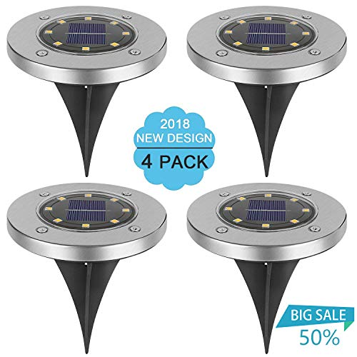 Solar Ground Lights, Hootech 4Pcs Underground Sensing Landscape Lights, 8LED Waterproof Solar Powered Disk Flood Lights lamp for Pathway Outdoor In-Ground Lawn Yard Driveway Patio Walkway Garden-White