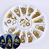 1 Box Retro Golden Clock Gear Studs 3D Nail Art Decoration in Wheel Manicure DIY Nail Art Decoration