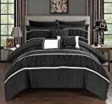 Black and Tan Comforter Sets King Chic Home Cheryl 10 Piece Comforter Set Complete Bed in a Bag Pleated Ruched Ruffled Bedding with Sheet Set And Decorative Pillows Shams Included, King Black