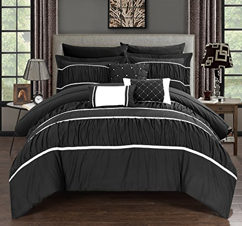 Chic Home Cheryl 10 Piece Comforter Set Complete Bed in a Bag Pleated Ruched Ruffled Bedding with Sheet Set And Decorative Pillows Shams Included, King Black (Black And Gray Bedding Sets)