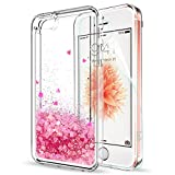IPhone SE Case Silicone IPhone 5S IPhone 5 Iphone SE 2 Cover Shockproof with HD Screen Protector for Girls Women, LeYi Shiny Sparkly Bling Glitter Liquid 3D Quicksand Cute Slim Clear Transparent TPU Gel Elastic Protective Phone Covers Hard Shell Cases for Apple iPhone 5 ZX Pink