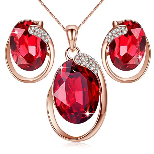 Leafael [Presented by Miss New York Austrian Crystal Rose Gold Plated Oval Double Circle Shape Red Magma Jewelry Set Earrings Pendant Necklace, 18