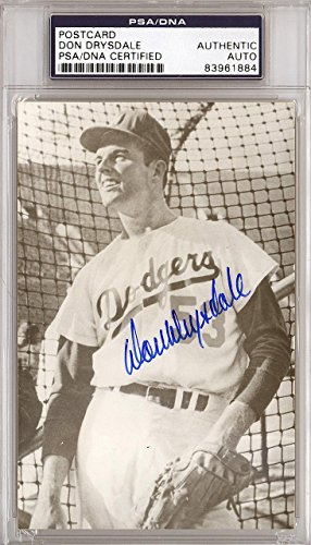 Don Drysdale Autographed Signed 3.5x5.5 Postcard Dodgers #83961884 PSA/DNA Certified MLB Cut Signatures