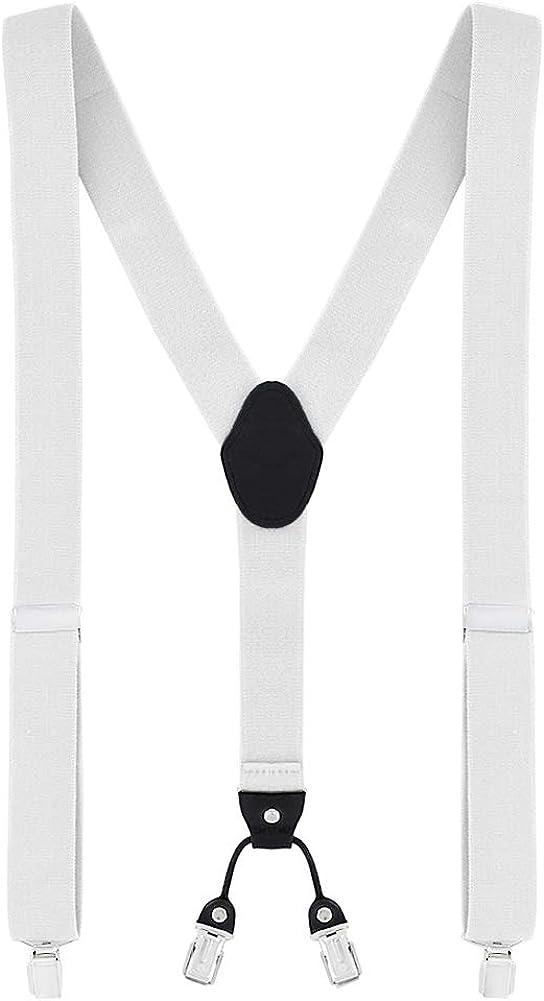 4 clips a y in pelle DonDon Bretelle uomo larghe 3,5 cm disponibili in diversi modelli elastiche con regolabili