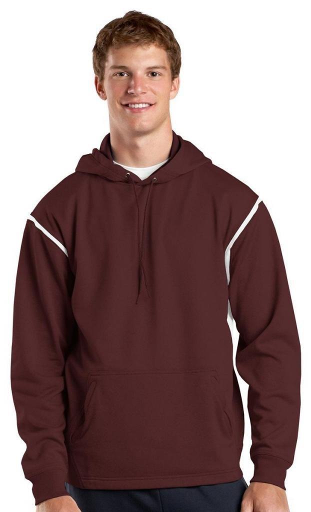 Sport-Tek Men's Tall Tech Fleece Colorblock Hooded Sweatshirt LT Maroon/ White by Sport-Tek