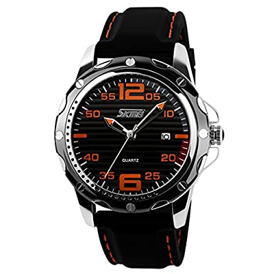 Mens Unique Analog Quartz Waterproof Business Casual Wrist Sport Watch with Silicone Band Strap, Key Scrath Resitant Face and Classic Design Calendar Date Window, 98FT 30M 3ATM Water Resistant - Black