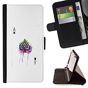 Momo Phone Case / Flip Funda de Cuero Case Cover - Jeu de poker Blanc Black Card - Samsung Galaxy Note 4 IV