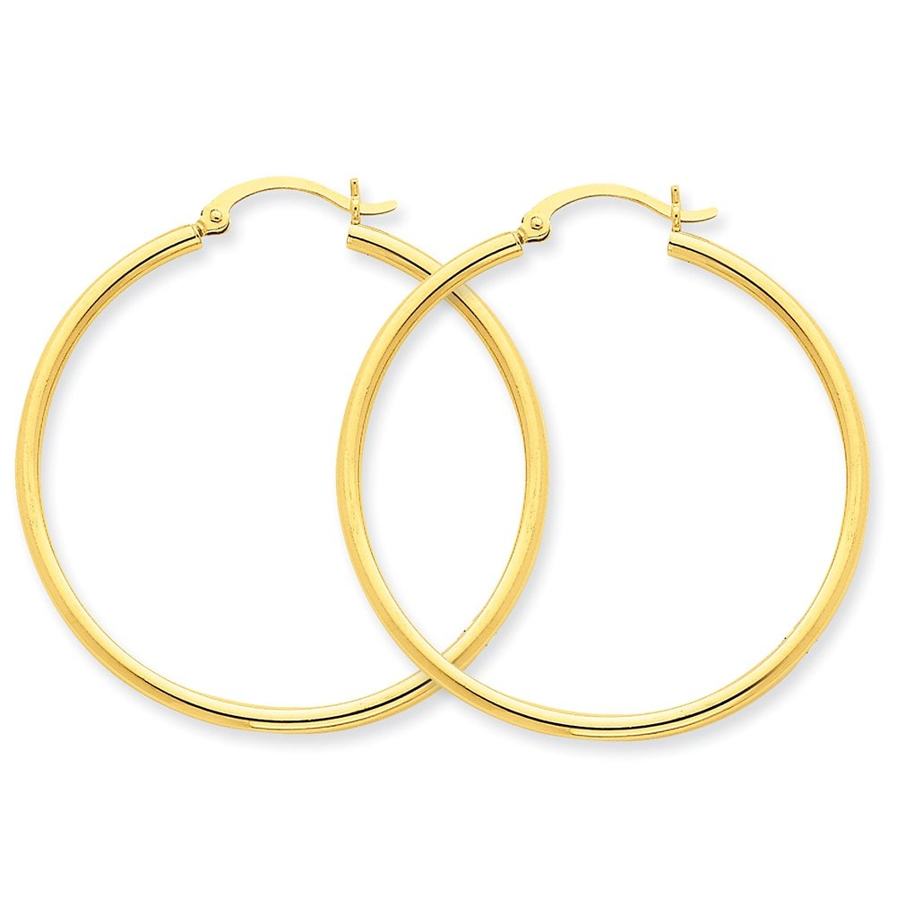 Lex /& Lu 10k Yellow Gold Polished 2mm Round Hoop Earrings LAL72753