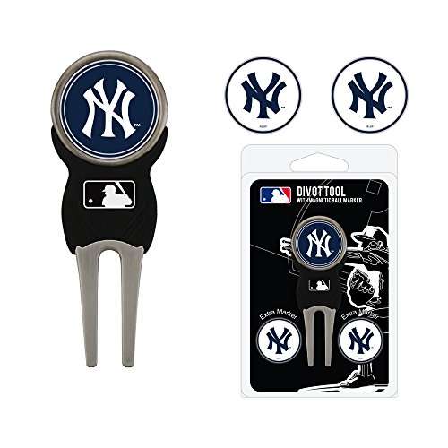 Team Golf MLB New York Yankees Divot Tool with 3 Golf Ball Markers Pack, Markers are Removable Magnetic Double-Sided Enamel ()