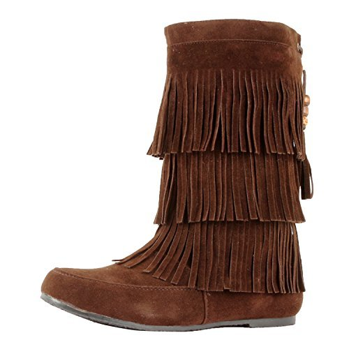 West Blvd Womens Lima Suede Fringe Moccasin Boots,6.5 B(M) US,Brown Su ()