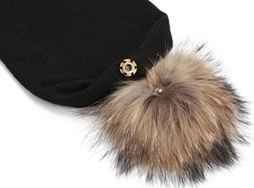 Marino's Knit Pom Beanie Winter Hat, Cashmere Blend Womens Knit Hats for Winter with Snap-On Rabbit Fur Pompom - Black