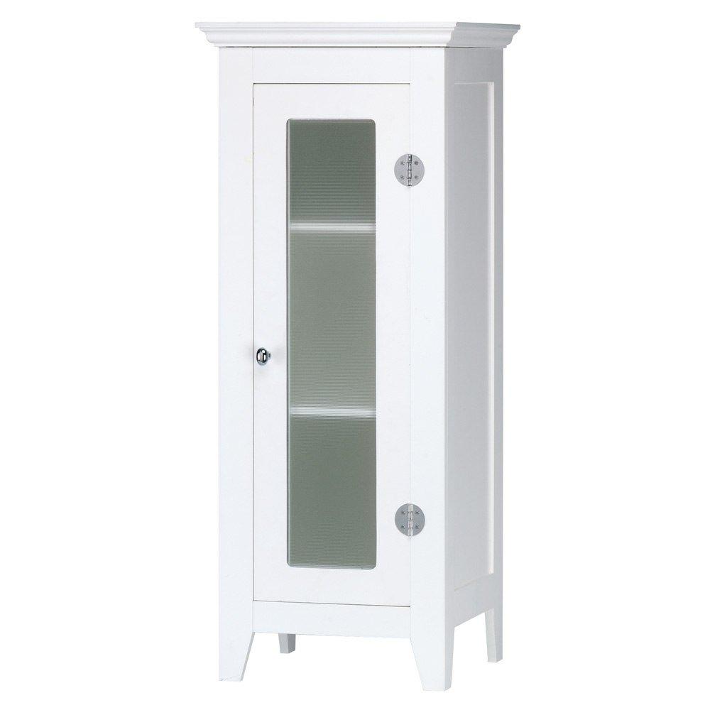 Bathroom Floor Cabinet White, Elegant Decorative Glass Display Storage Cabinets
