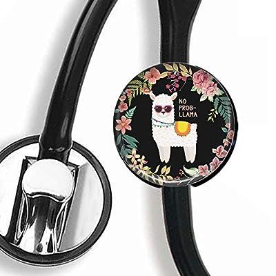 Stethoscope Tag - Lama Animal Lovers Llama in Flowers - Stethoscope Accessory - Steth ID Tag/Nurse Badge/RN/LPN/RT