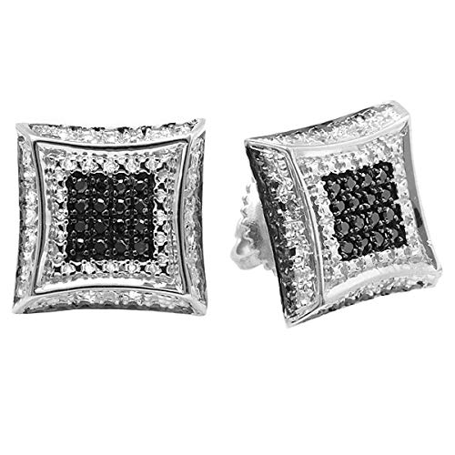 - Dazzlingrock Collection 0.15 Carat (ctw) White & Black Round Diamond Micro Pave Setting Kite Shape Stud Earrings, Sterling Silver