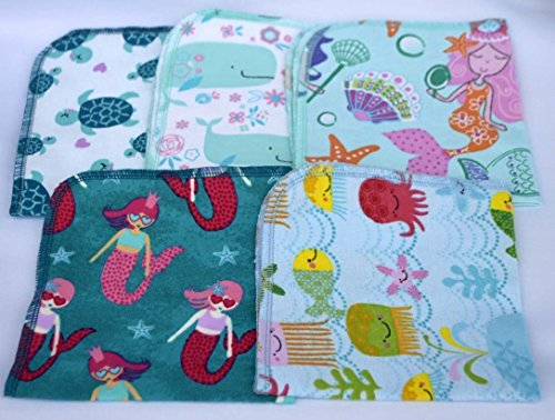 1 Ply Printed Flannel Washable, Mermaids and Friends
