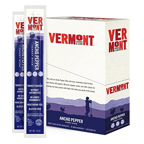 Vermont Smoke & Cure Meat Sticks, Turkey, Antibiotic Free, Gluten Free, Ancho Pepper, 1oz Stick, 24 Count made in New England