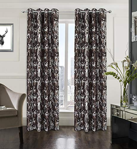 Black Flocking Printing - Alexandra Cole Blackout Printing Flocking Luxurious Floral Curtain Drape 2 Panels for Bedroom Living Room Dark Brown 54X95 Inch
