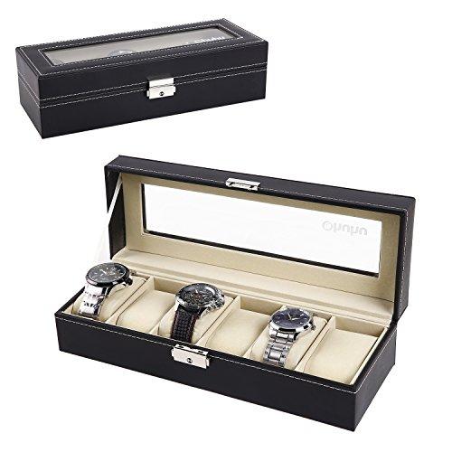 Ohuhu Watch Organizer, 6 Slot Watch Box PU Leather Watches Storage Case Lock Key by Ohuhu (Image #7)