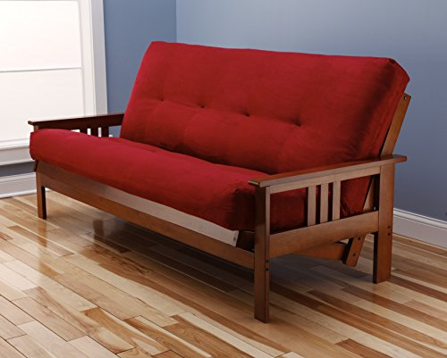 St Paul Furniture Toronto Futon Set Frame and Mattress Full Size Wood Finish w/ 8 Inch Innerspring Matt Includes Choice to add Drawers Sofa Bed Couch Sleeper (Frame and Matt - Frame Futon Room Living Cherry