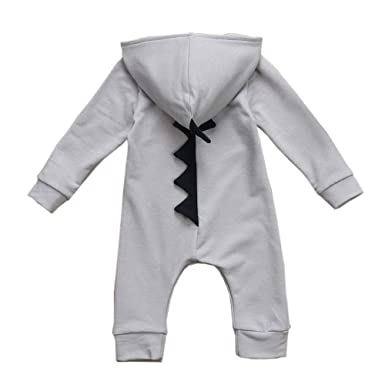 9441e74ac Aimire Baby Boys Girls 3D Dinosaur Hooded Romper Costume Solid Bodysuit  Outfits Warm Spring Autumn Cotton