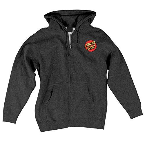Santa Cruz Skateboards Classic Dot Hooded Zip Sweatshirt 2X-Large Charcoal Heather