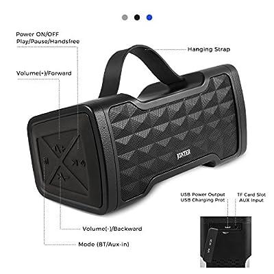 Portable Bluetooth Speaker, JONTER Soundplus IPX5 Waterproof Wireless Speakers with 24W Stereo Pairing Speakers, Lound Volume, Enhanced Bass, Bluetooth 4.2 for Home, Outdoor, Travel (Black)