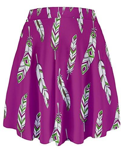 Cowcow–pájaro plumas patrón de impresión gráfica alta cintura falda, XS-3X L Magenta