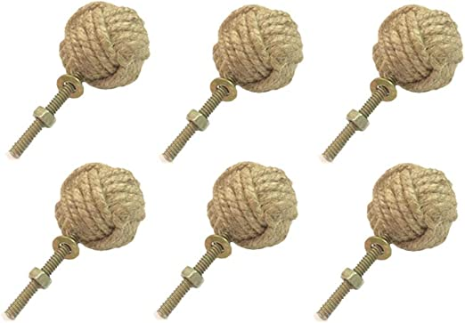 Jute Door Drawer Cupboard Knobs Beach SPECIAL LISTING 10 x Nautical Knot Rope