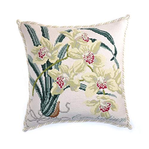 Cymbidium Needlepoint Tapestry Kit with Cream Background from Elizabeth Bradley Premium English Needlework Pillow or Rug Project with 100% Wool Yarns from The Exotics - Pillow Orchid Needlepoint