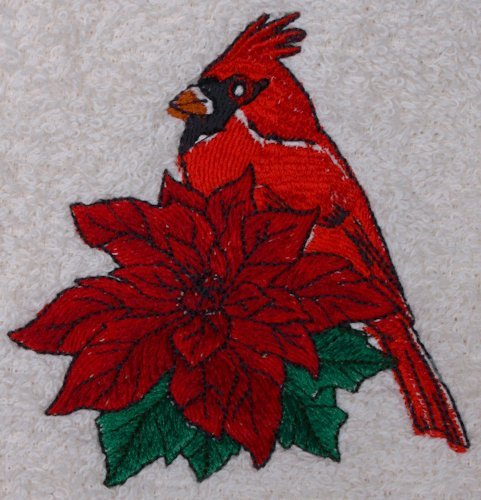 Bath Towel Set with Embroidered Cardinal and Poinsetta - White