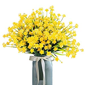 HOONAO 4pcs Artificial Fake Flowers,Faux Yellow Daffodils Outdoor Greenery Plants Shrubs Plastic Bushes Indoor Outside Hanging Planter Home Garden Decoration 31
