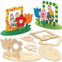 Baker Ross Kits de marcos de fotos de madera con flores (Paquete de 4) Manualidades infantiles para exhibir