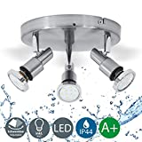 LED bathroom ceiling light I LED spotlight IP44 I GU10 LED lamp I pivotable, rotatable I splash water proof I modern light fitting I warm white I chrome design I 3 x 3 W illuminants I 230 V