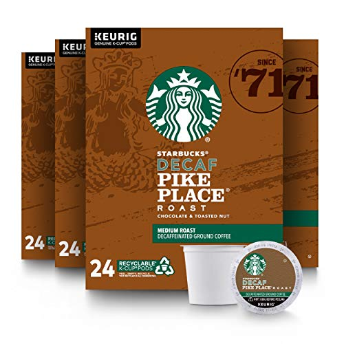 Starbucks Decaf K-Cup Coffee Pods — Pike Place Roast for Keurig Brewers — 4 boxes (96 pods total)