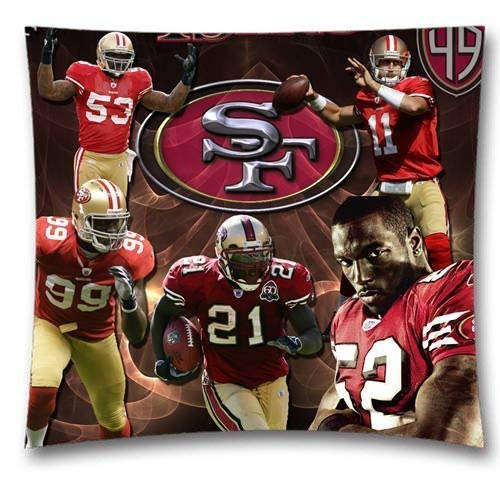ow Cushion Covers, San Francisco 49ers Square Decorative Throw Pillowcases, Pure Cotton, Bedding, Sofa, Couch, Size: 18x18 inches (45x45 cm) Ball Game Theme 3354 ()
