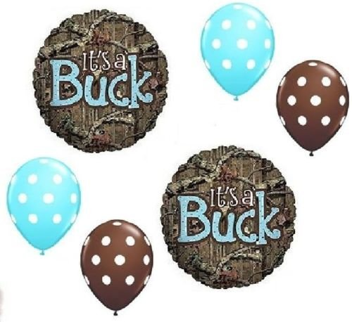 LoonBalloon MOSSY OAK Its a Buck Blue BOY Baby Shower Camouflage 6 Mylar & Latex Balloons