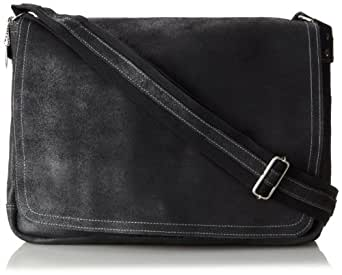 David King & Co. Leather Full Flap Laptop Messenger L Distressed, Black, One Size